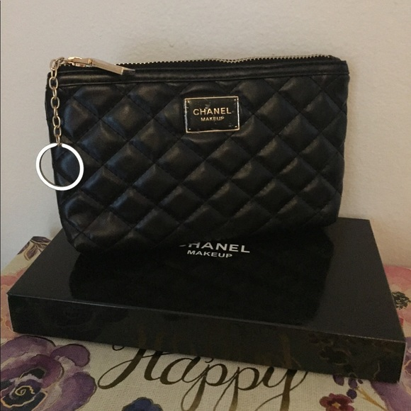 ddfa10f139df Bags | Chanel Vip Gift Black Makeup Pouch With Keychain | Poshmark